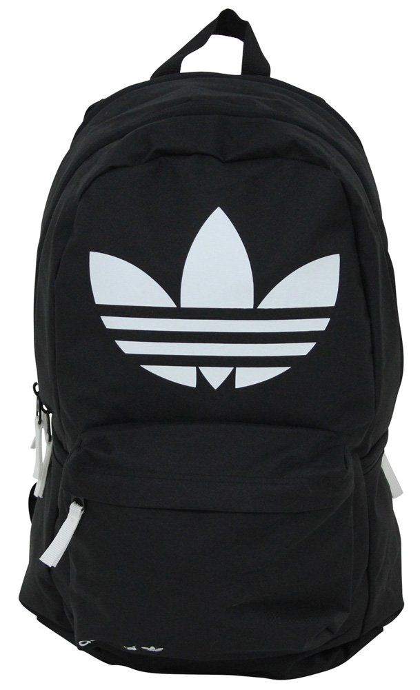 Adidas Originals Burns Backpack Bag Gym Trefoil Logo Black White ... e1d47af009d98