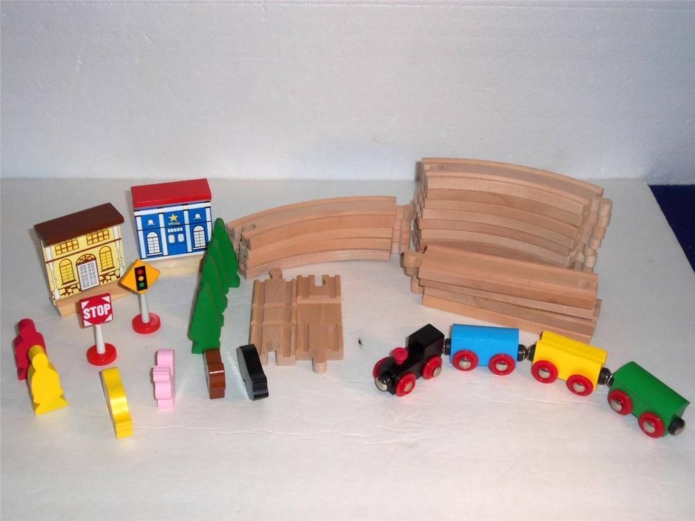 new wooden train track accessories for brio thomas the tank engine 36 pieces my ebay items. Black Bedroom Furniture Sets. Home Design Ideas