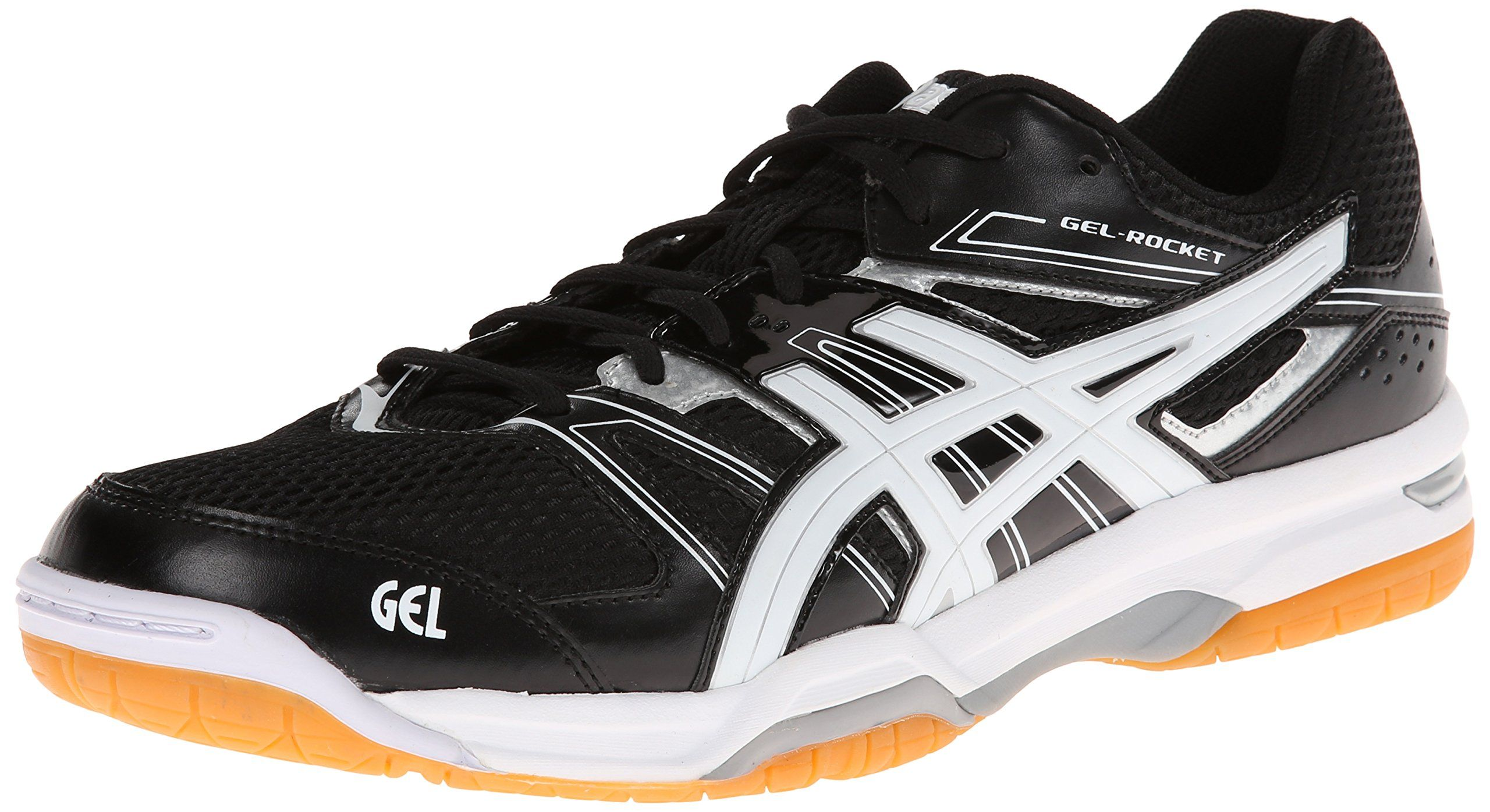 Asics Men S Gel Rocket 7 Volley Ball Shoe Black White Silver 6 M Us Volleyball Shoes Best Volleyball Shoes Asics Men