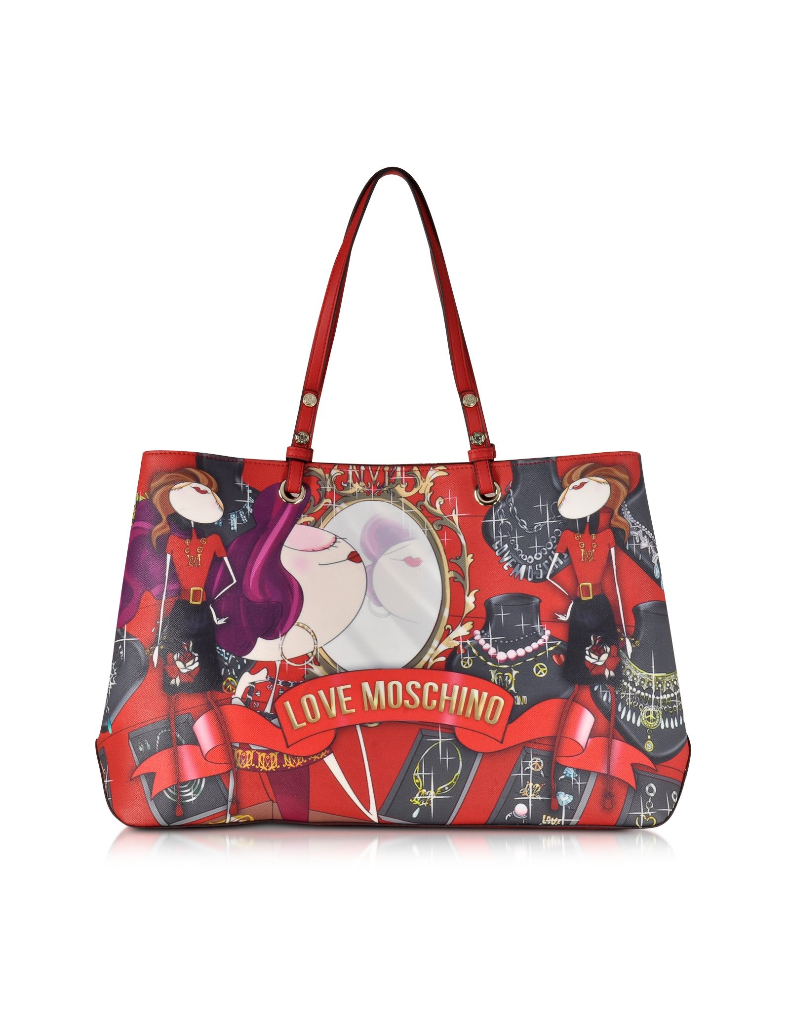 Love Moschino Red Large Saffiano Eco Leather Tote w/Girl Print at FORZIERI Canada