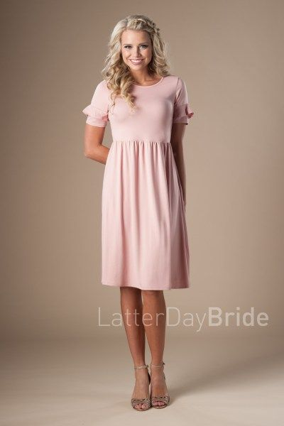 4b95f5060f449 modest bridesmaid dresses in blush with sleeve ruffle, cheap formalwear at Latter  Day Bride   2018 Bridal Collection   LatterDayBride & Prom   Modest ...