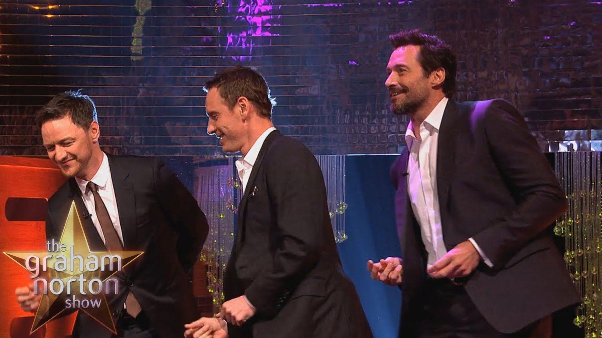 "Michael Fassbender, Hugh Jackman & James McAvoy Dance to ""Blurred Lines""..."