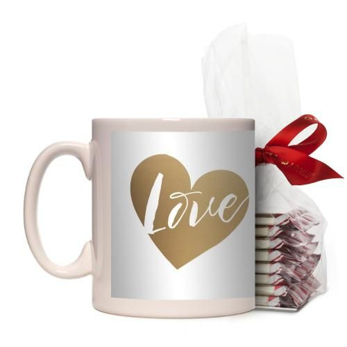 Brushed Moments Love Script Mug, White, with Ghirardelli Peppermint Bark, 11 oz, goldfoil