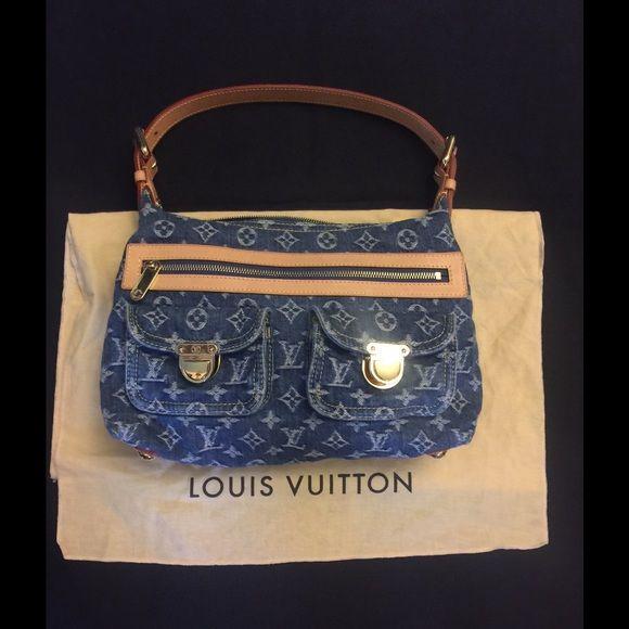 """Louis Vuitton Denim PM Shoulder Bag Authentic Louis Vuitton Denim PM Shoulder Bag. Size 13 x 3 x 9"""" Louis Vuitton Bags Shoulder Bags"""