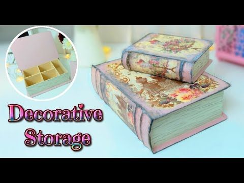 Cardboard Storage Box Decorative Diy  Vintage Book Storage Box Tutorial  Room Decor Ideas  Isa
