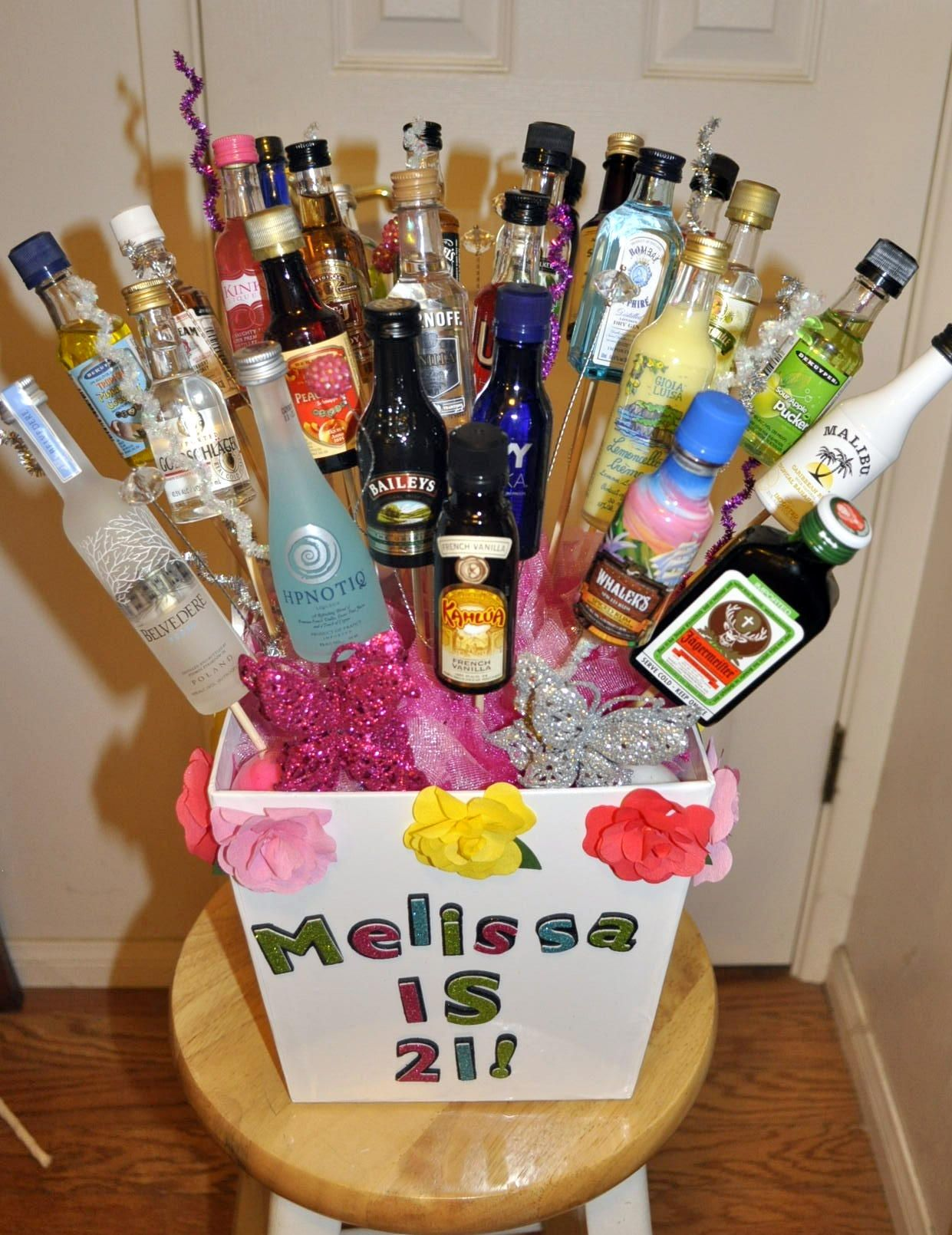 21st Birthday Gift Fun To Do And Easy To Make 21st Birthday Gifts 21st Birthday Presents 21st Birthday Basket
