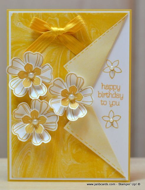 Birthday Card Making Ideas Video Part - 37: Handmade Card From JanB Handmade Cards Atelier: Feminine Flowery Collar  Fold Card . Sunny Yellow And White . Layered And Shaped Flower Trio .  Stampinu0027 Up!