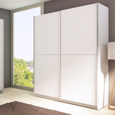 Rebrilliant Grey 2 Sliding Door Armoire Colour White Furniture