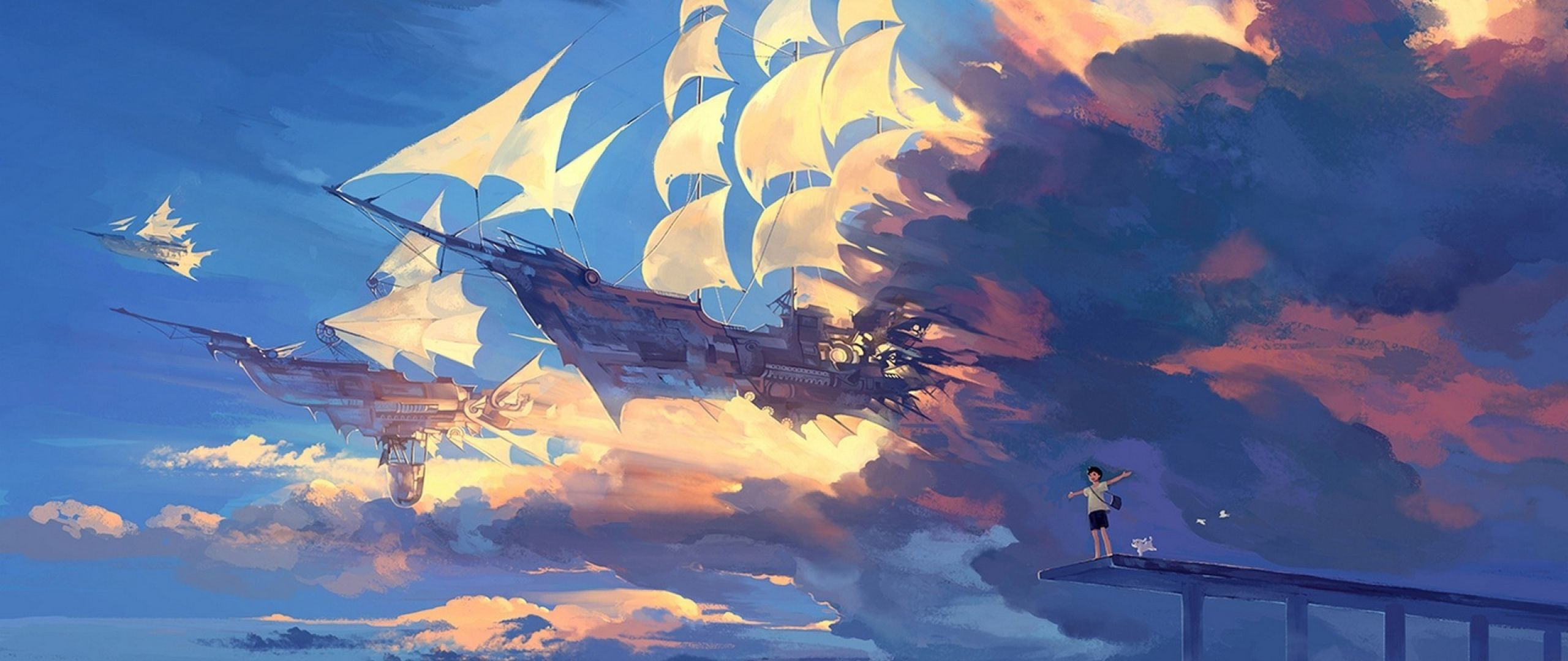 Hanyijie Sky Scenery Ship Anime Art 2560x1080 Jpg 2560 1080 Art Digital Fantasy Fav Emotion Anime Scenery Anime Scenery Wallpaper Animation Art