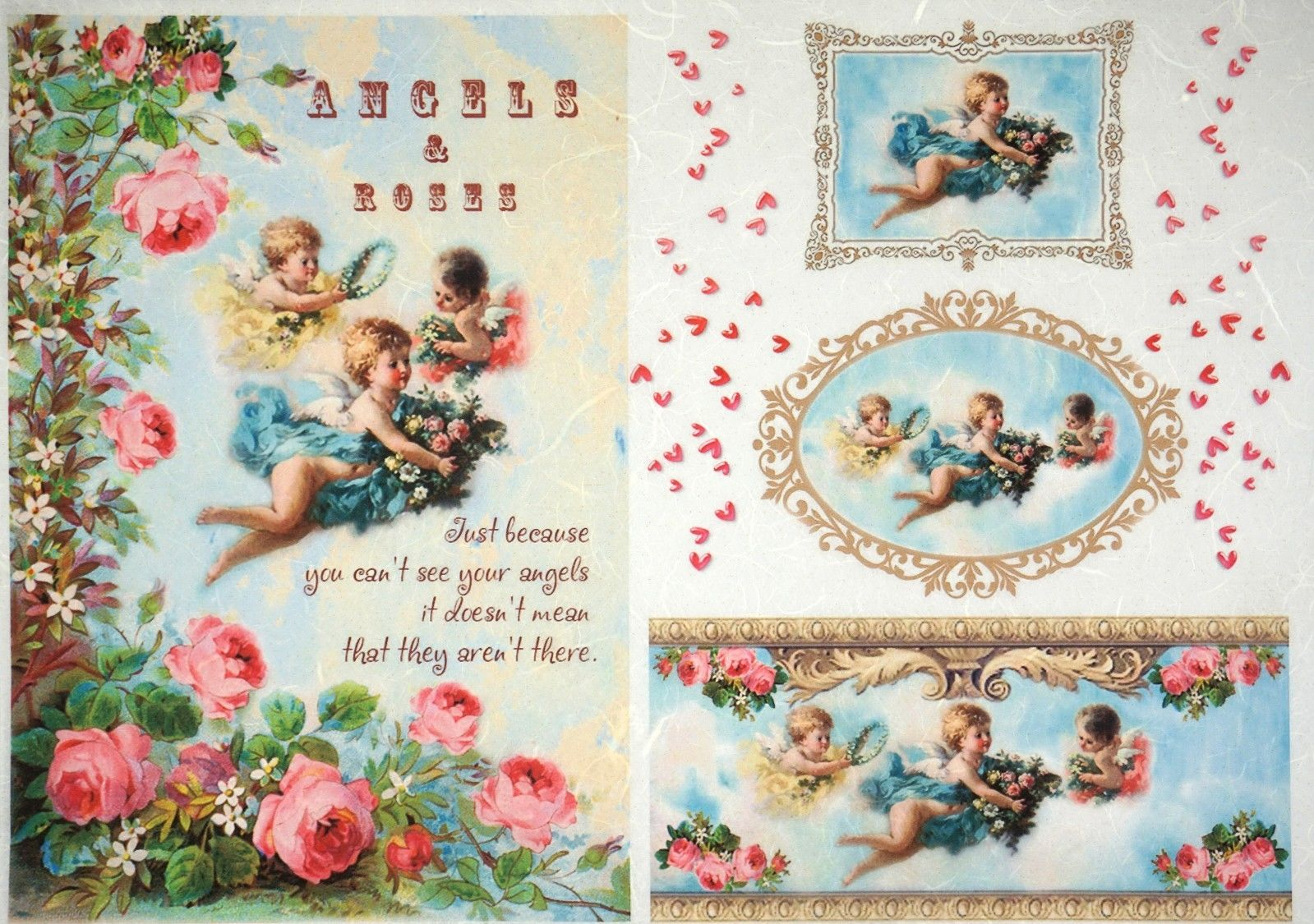 Rice Paper Vintage Pink Angels for Decoupage Decopatch Scrapbook Craft Sheet