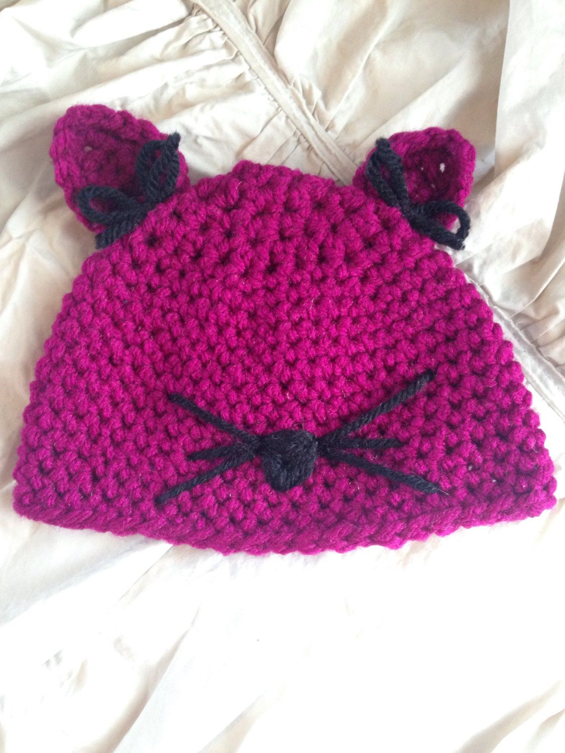 Little kitten beanie by BowsandArrowscrochet on Etsy https://www.etsy.com/listing/235935776/little-kitten-beanie