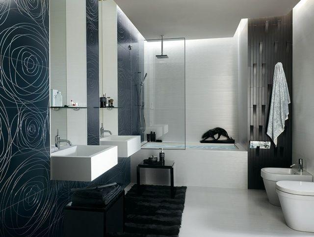 schwarz wei es badezimmer fliesen ideen bathroom pinterest badezimmer fliesen ideen. Black Bedroom Furniture Sets. Home Design Ideas