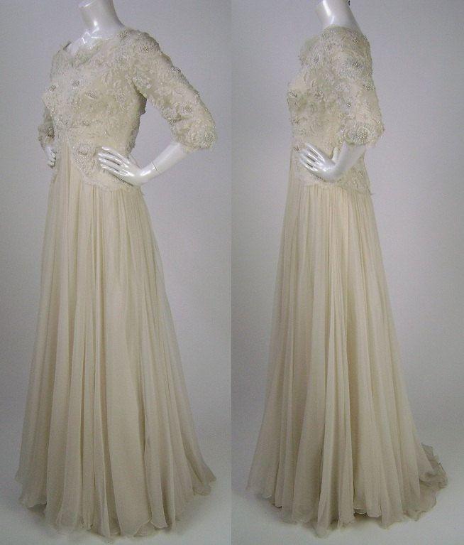 Silk Chiffon Vintage Wedding Dress