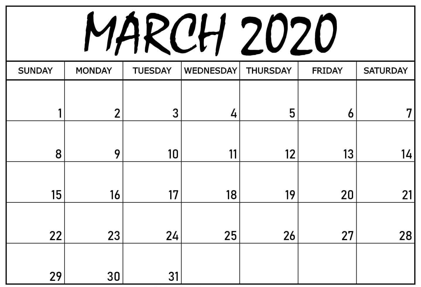 Blank Calendar March 2020 Pdf Printable Template 2020 Calendar