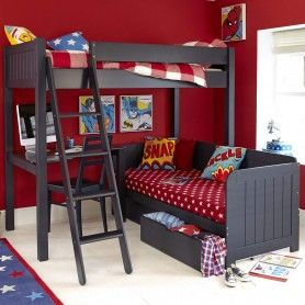 Warwick High Sleeper Bed With Daybed Prussian Blue In 2020 High Sleeper Bed Childrens