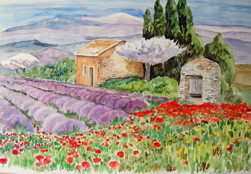 Paysage De Provence Paysage De Provence Croquis De Paysage