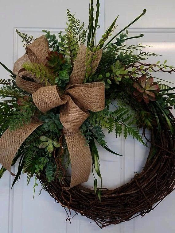 with Initial Everyday Wreath Summer Wreath Spring Wreath Succulent Burlap Wreat  Succulent Wreath with Initial Everyday Wreath Summer Wreath Spring Wreath Succulent Burla...