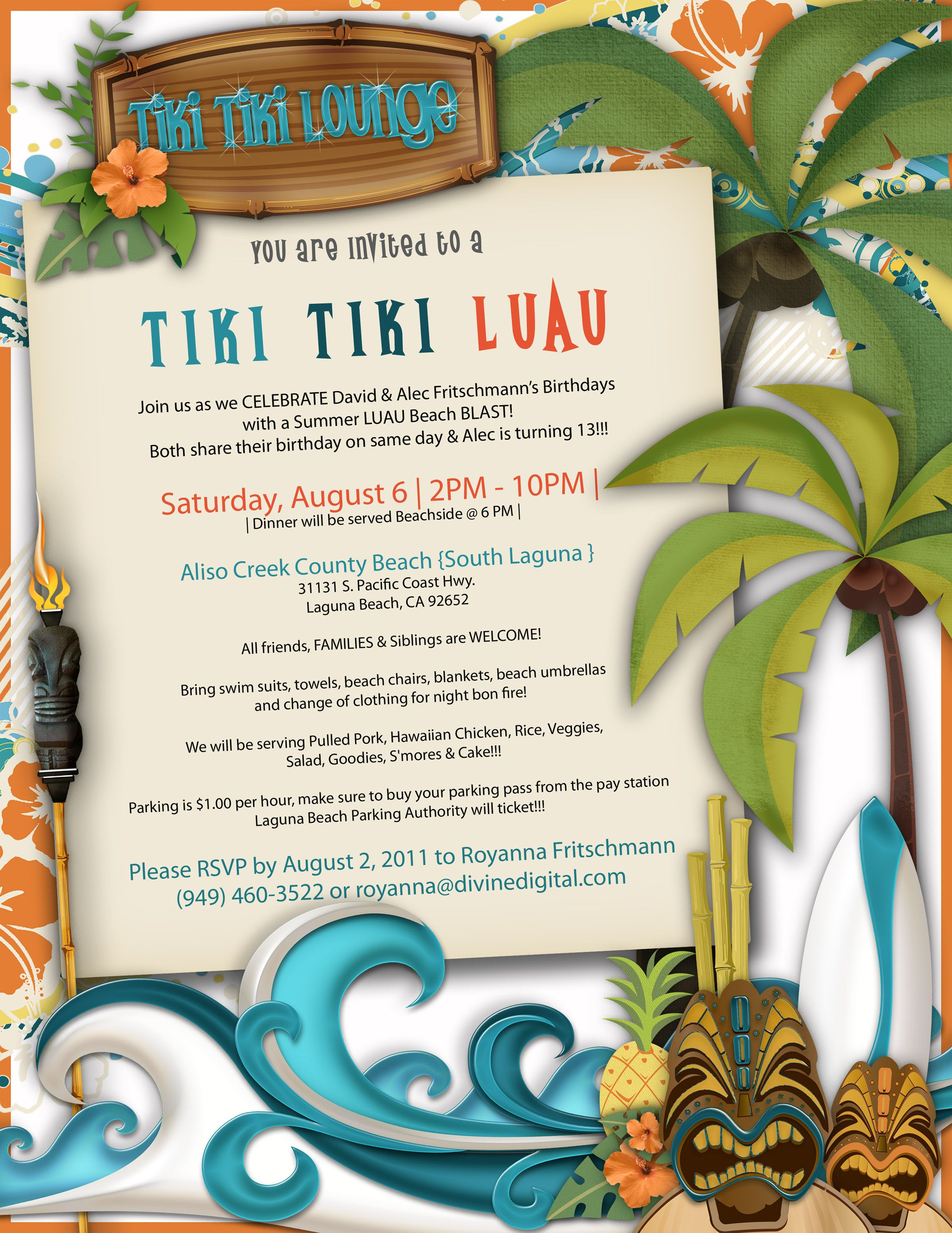 Scrapbook ideas hawaii - Birthday Invite By Royanna Fritschmann Using The Surf Hut Digital Scrapbook Kit