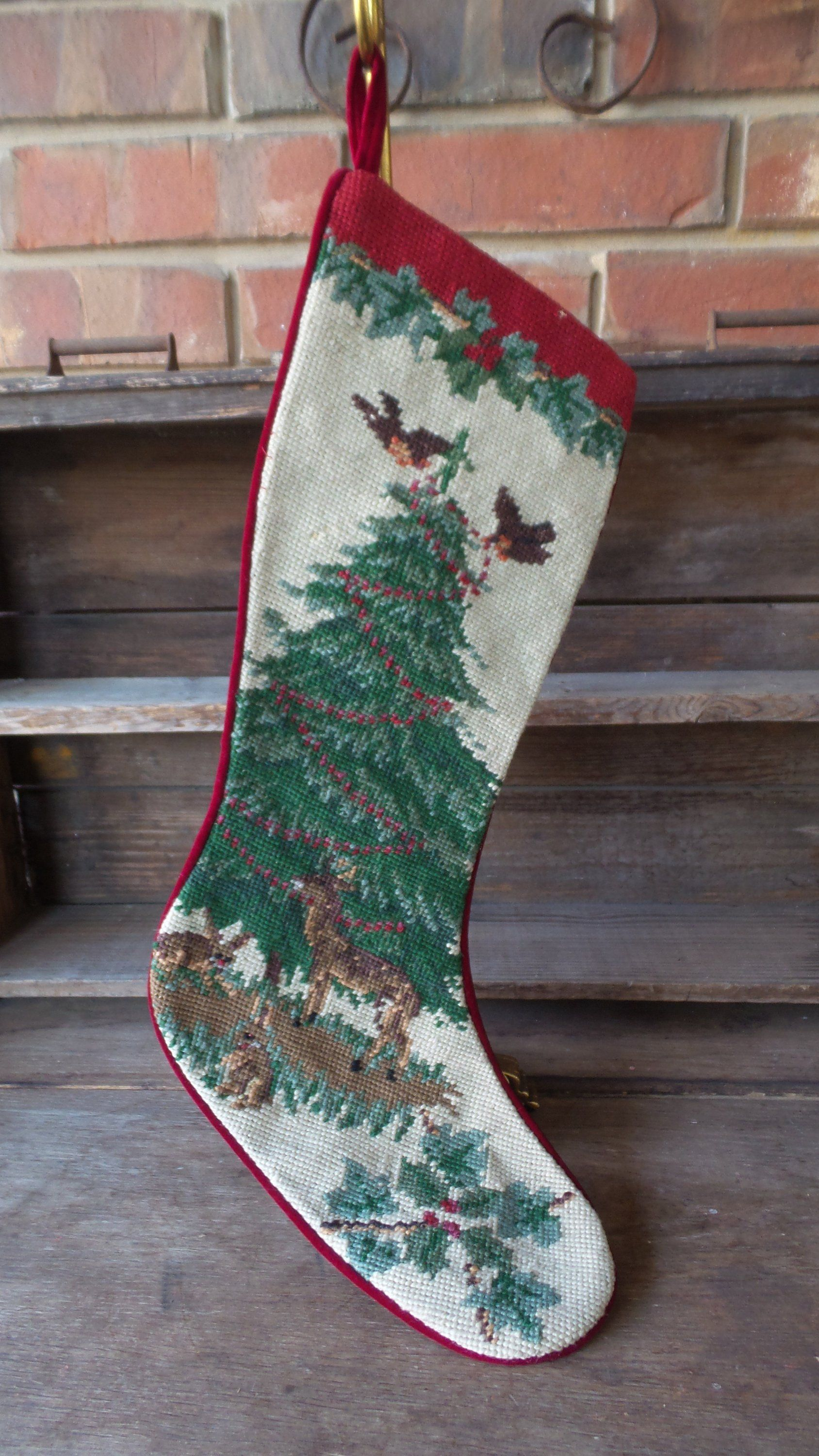 Vintage Needlepoint Christmas Stockings.Vintage Needlepoint Christmas Tree Stocking Deer Stocking