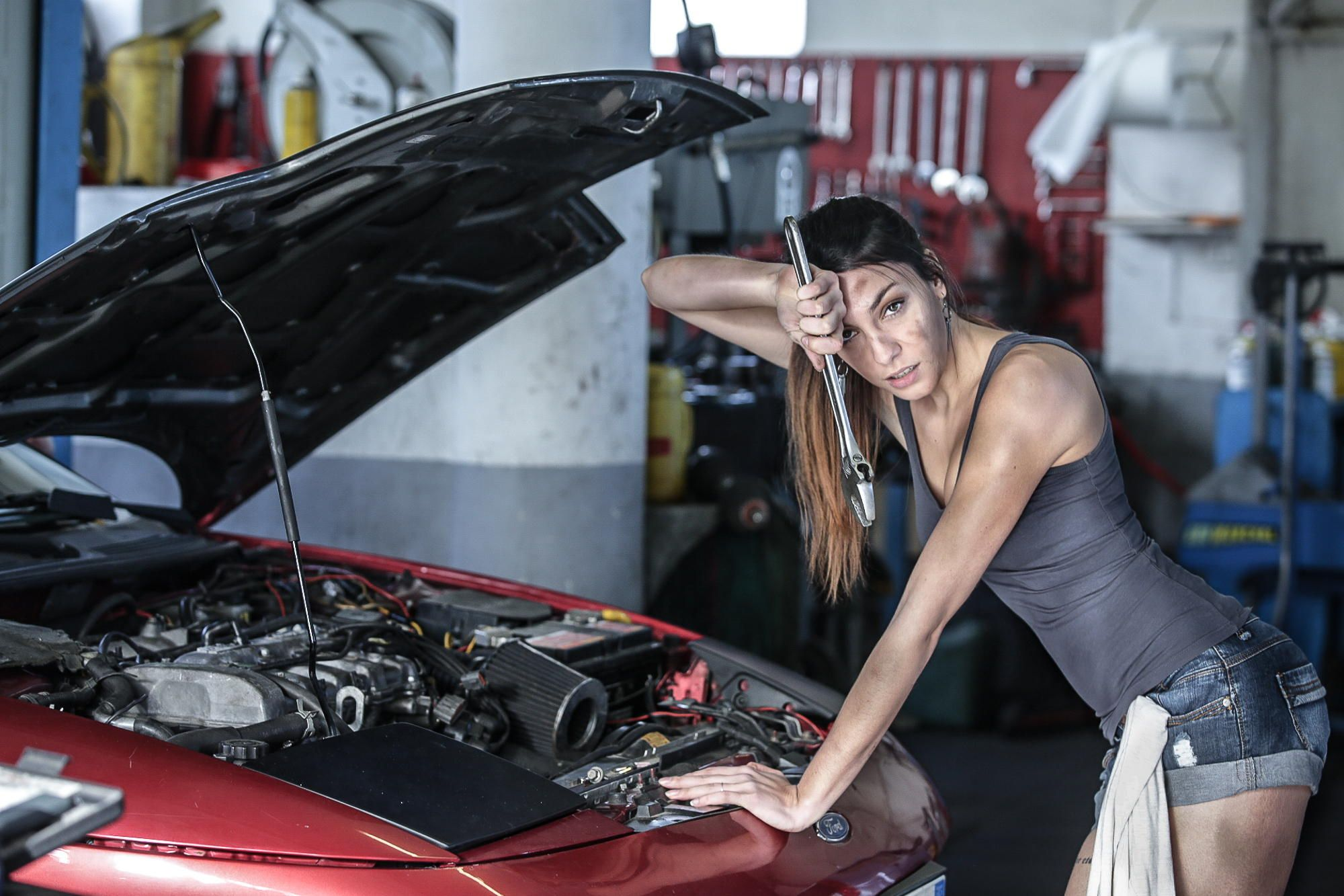 Photograph Sexy Garage Girl Repair Ford Car By Fabrice