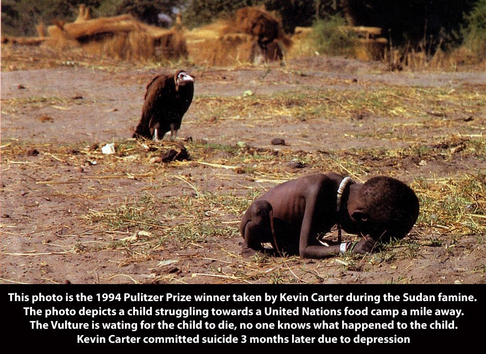 African Children Starving Vulture