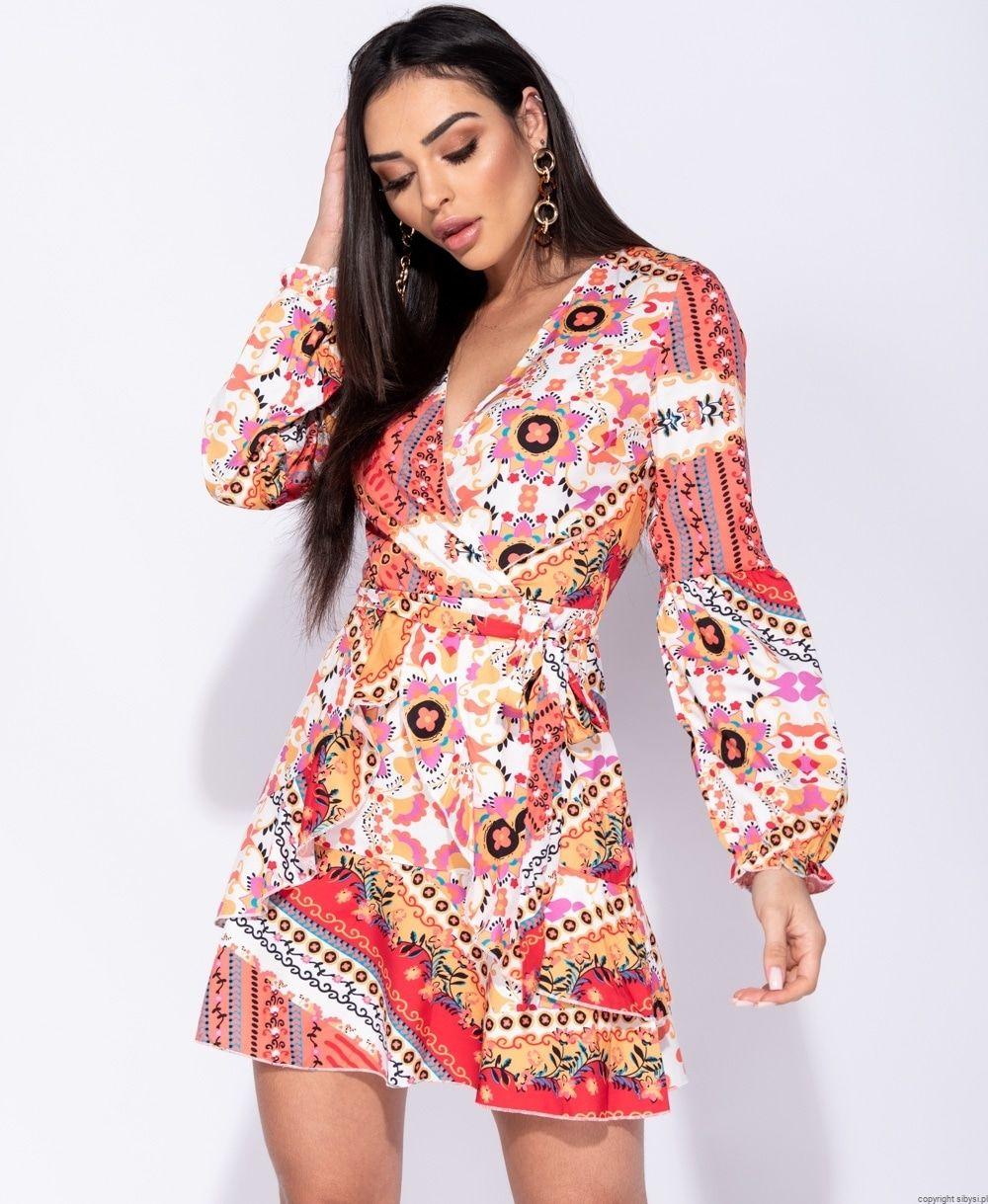 Zwiewna Sukienka W Kwiaty Scarf Print Dresses With Sleeves Boho Fashion Wrap Dress