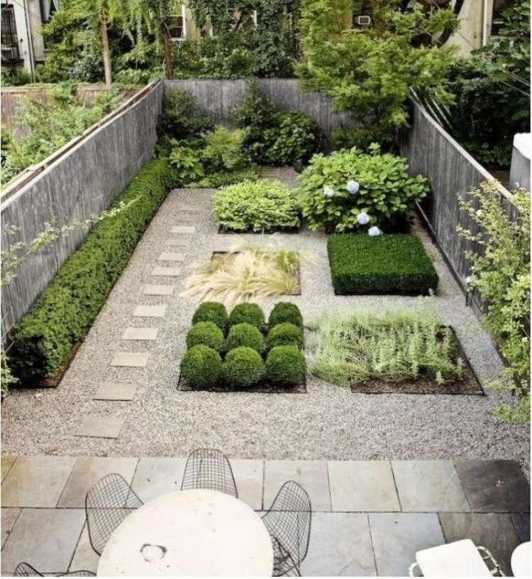 Steingarten anlegen gartengestaltung kies splitt modern pflaster straeucher pflanzen sichtschutz - Gartengestaltung mit splitt ...