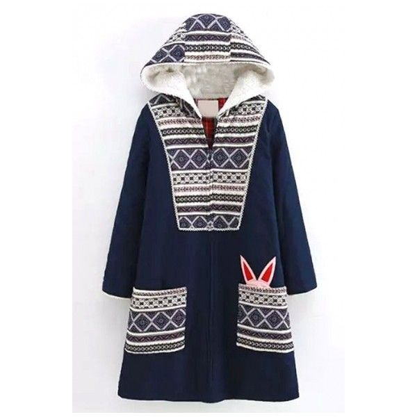 Tribal Print Patchwork Hooded Zipper Cartoon Long Coat ($46) ❤ liked on Polyvore featuring outerwear, coats, blue coat, blue long coat, zipper coat, long coat and zip coat