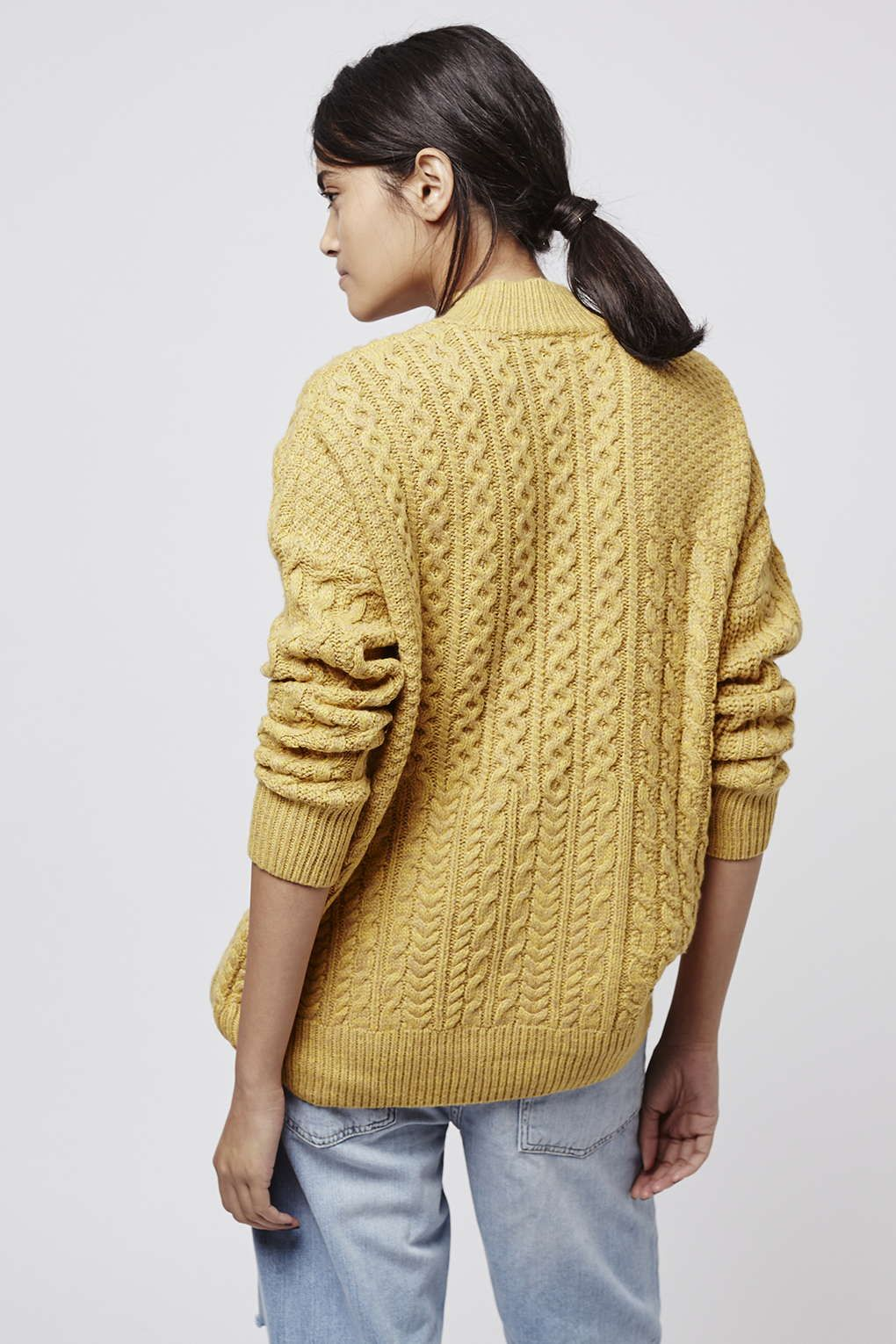 Patchwork Cable Knit Jumper - Knitwear - Clothing - Topshop