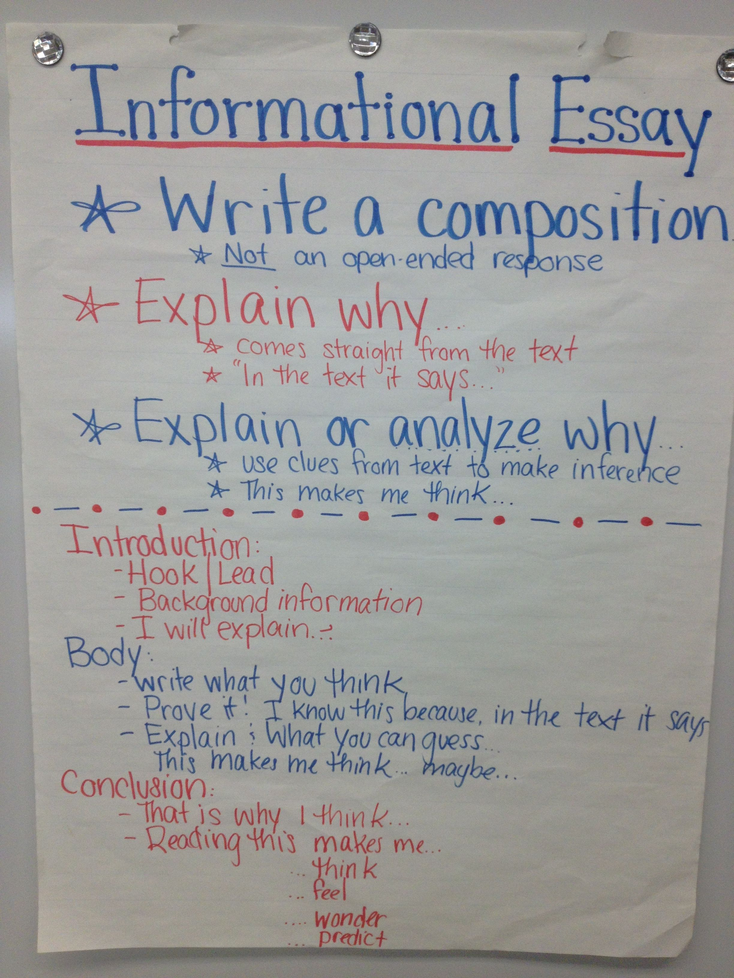 Informational Essay  Th Grade Ela Anchor Charts