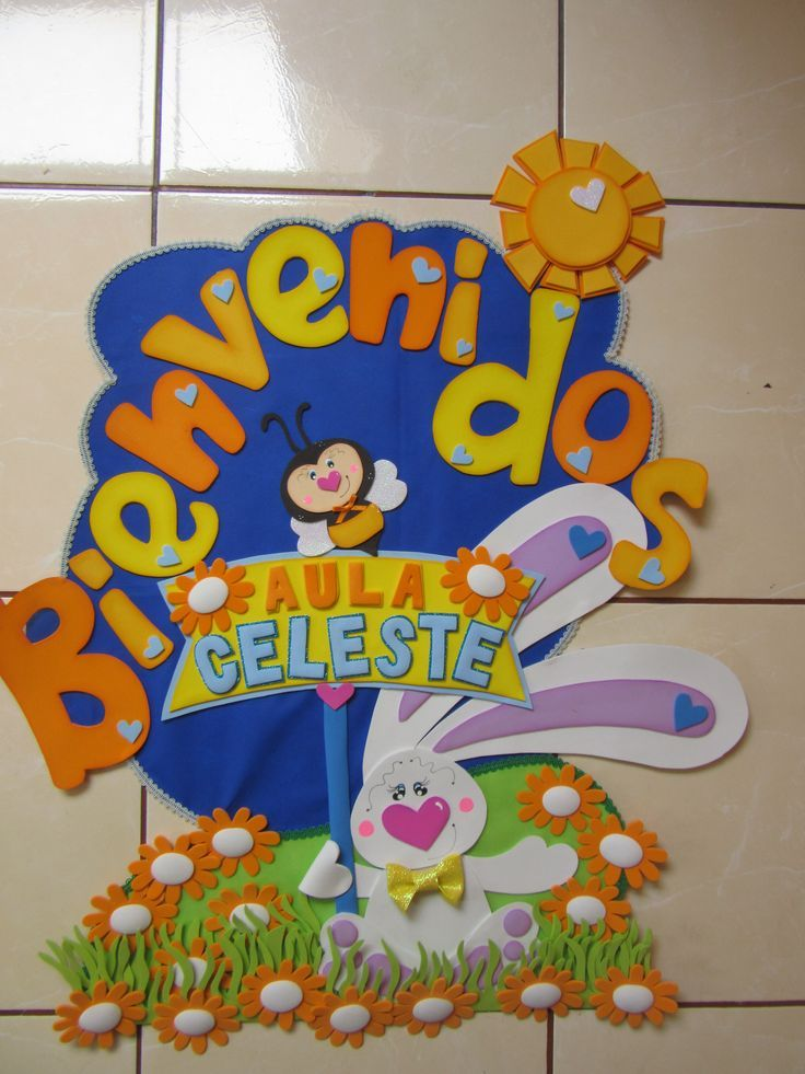 Cartel para puerta bienvenidos pinterest cartelitos for Decoracion con goma eva
