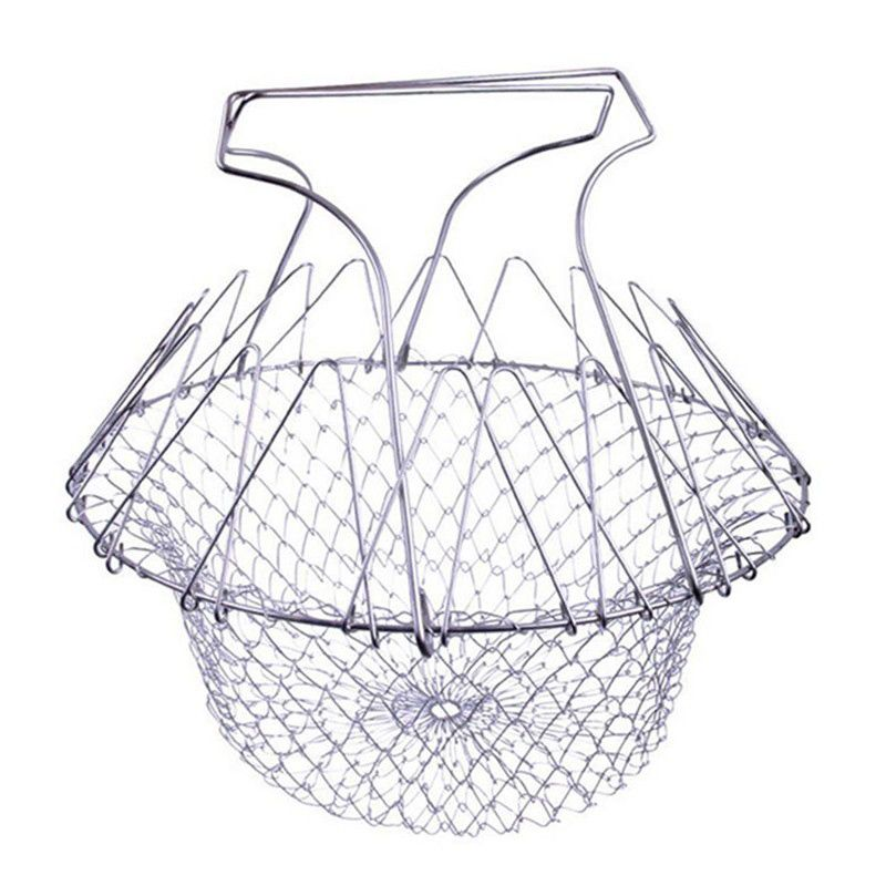 Chef Magic Basket Stainless Steel Foldable Steam Rinse Strain Fry Basket Strainer Net Kitchen Cooking Tool KC1411