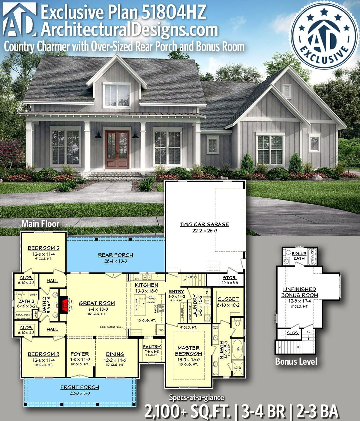 Plan 51804hz Country Charmer With Over Sized Rear Porch And Bonus
