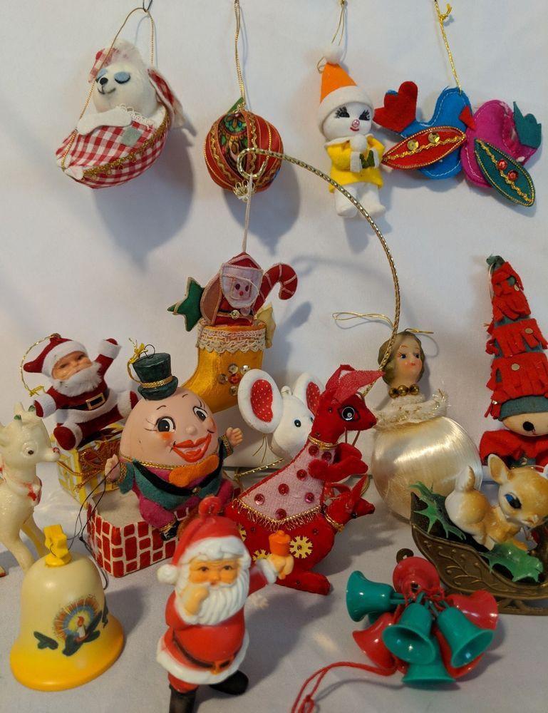 Christmas Ornament Lot Vintage Felt Flocked Japan Mcm Celluloid Deer Christmas Ornaments Christmas Joy Vintage Christmas