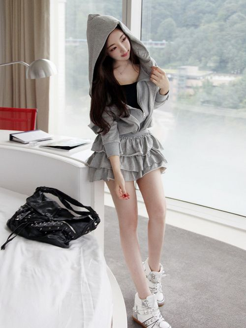cute hoodie skirt, cute outfit, K Fashion, (≧∇</div>