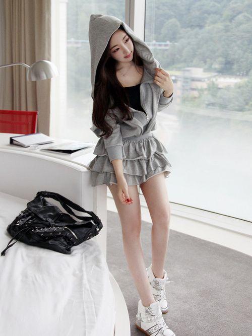 Cute hoodie skirt cute outfit K Fashion (u2267u2207u2266)/ casual cute outfit Cute Korean Fashion ...