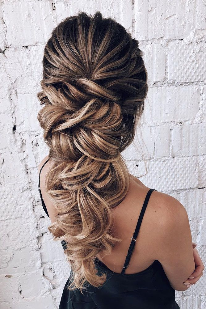 Rapunzel style wedding braid long hair for bride or ...