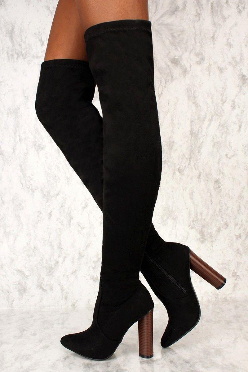 09b3a3e40ff Sexy Black Pointy Toe Thigh High AMI Clubwear Boots Faux Suede