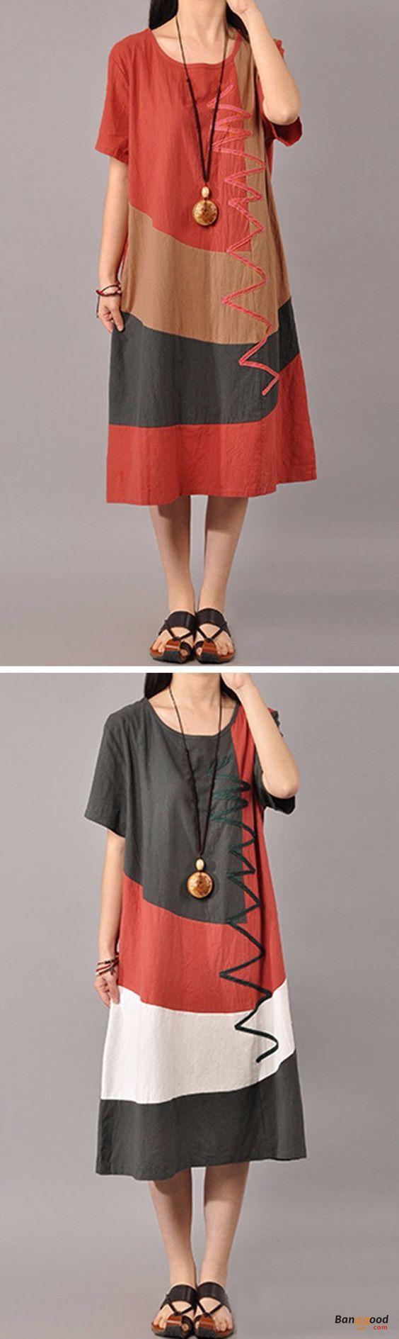 Women casual short sleeve splice loose oneck mid long dresses