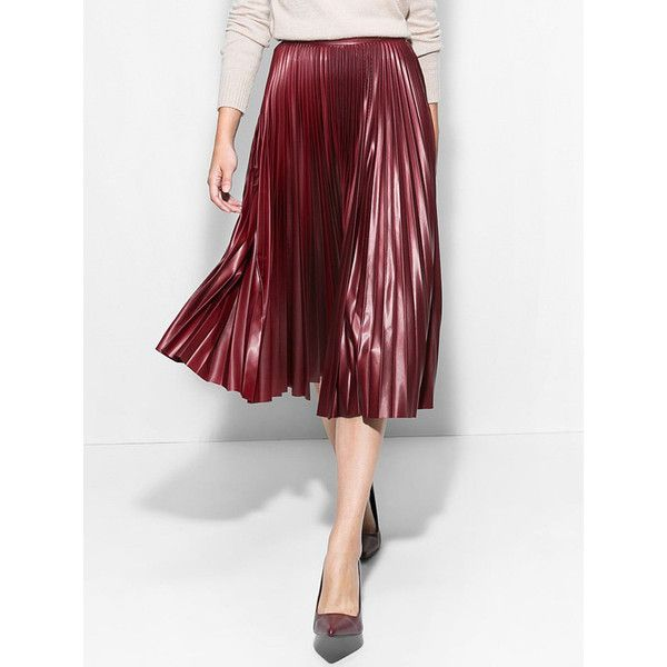 Choies Burgundy PU Midi Pleated Skirt (725 CZK) ❤ liked on Polyvore featuring skirts, red, knee length pleated skirt, midi skirt, red skirt, pleated midi skirt and pu skirt