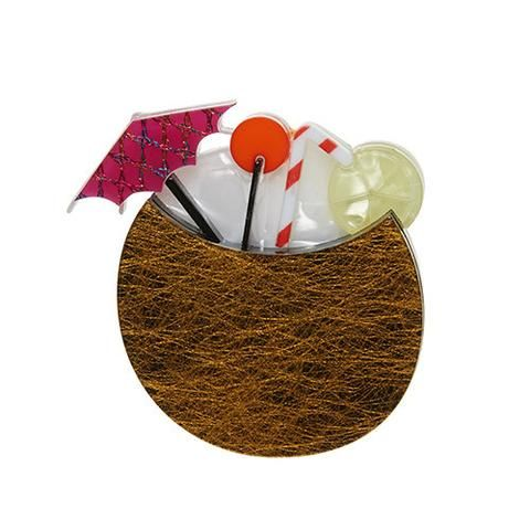 """Erstwilder Limited Edition Let's Tiki Brooch. """"Mix it anyway you want. Just remember the rum and even more importantly the little umbrella. We love those things! """""""