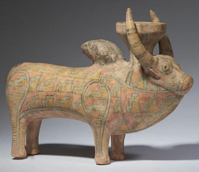 Polychrome Terracotta Bull Cult Figure, Indus Valley