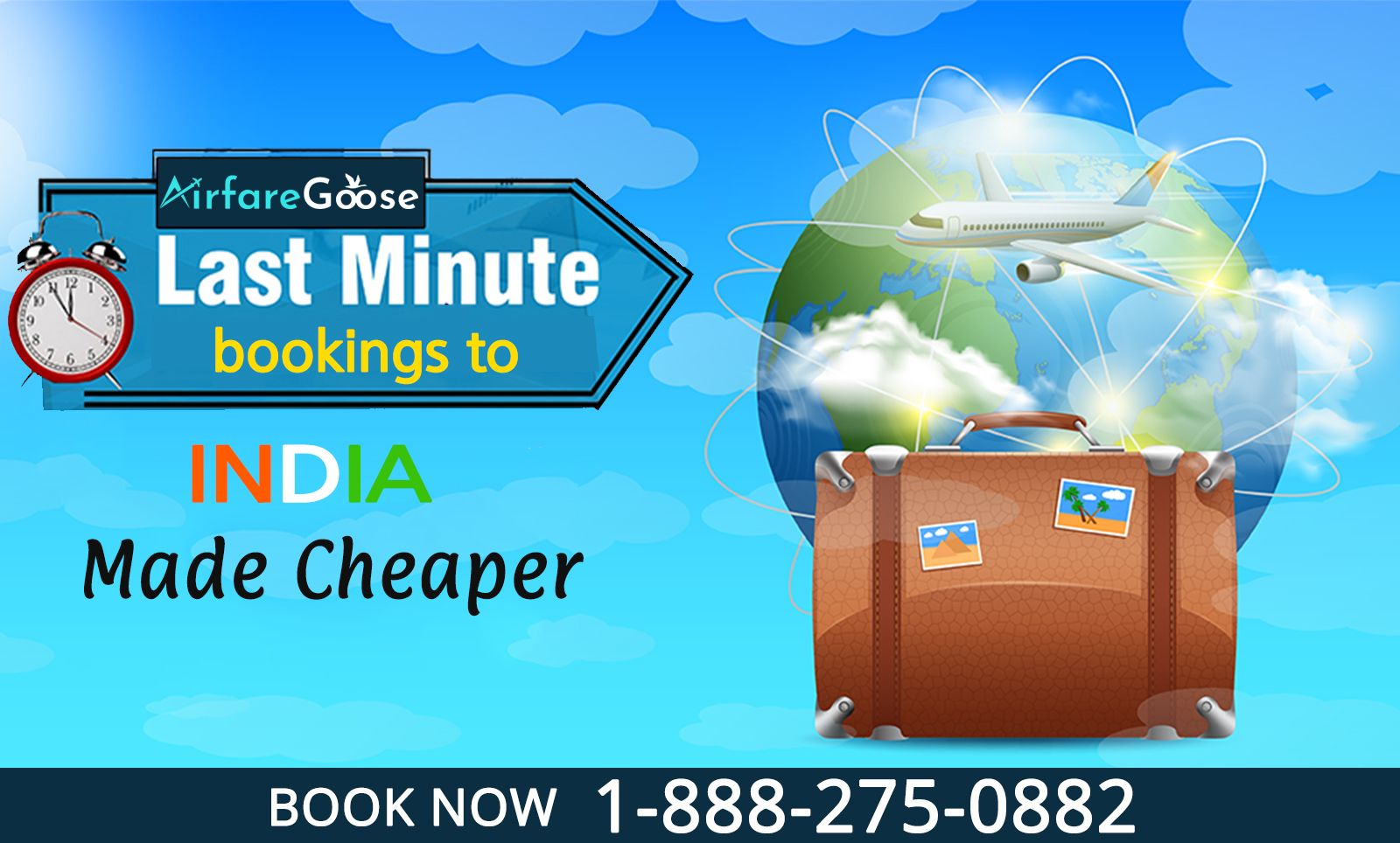 Easy and fast #Booking at best #Price. Get exclusive discounts on your journey with #AirfareGoose. Hurry, Book Now!  Or, Call: -1-888-275-0882 (Toll-Free), info@airfareGoose.  #Travel #BestDeals #Lastminuteflights #LastMinuteDeals #LastMinuteTravel #FlightsToIndia #CheapFlightsToIndia #FlightDeals #LowCost #FlightTickets #traveling #Travelers #explore #travelmore #travellifestyle