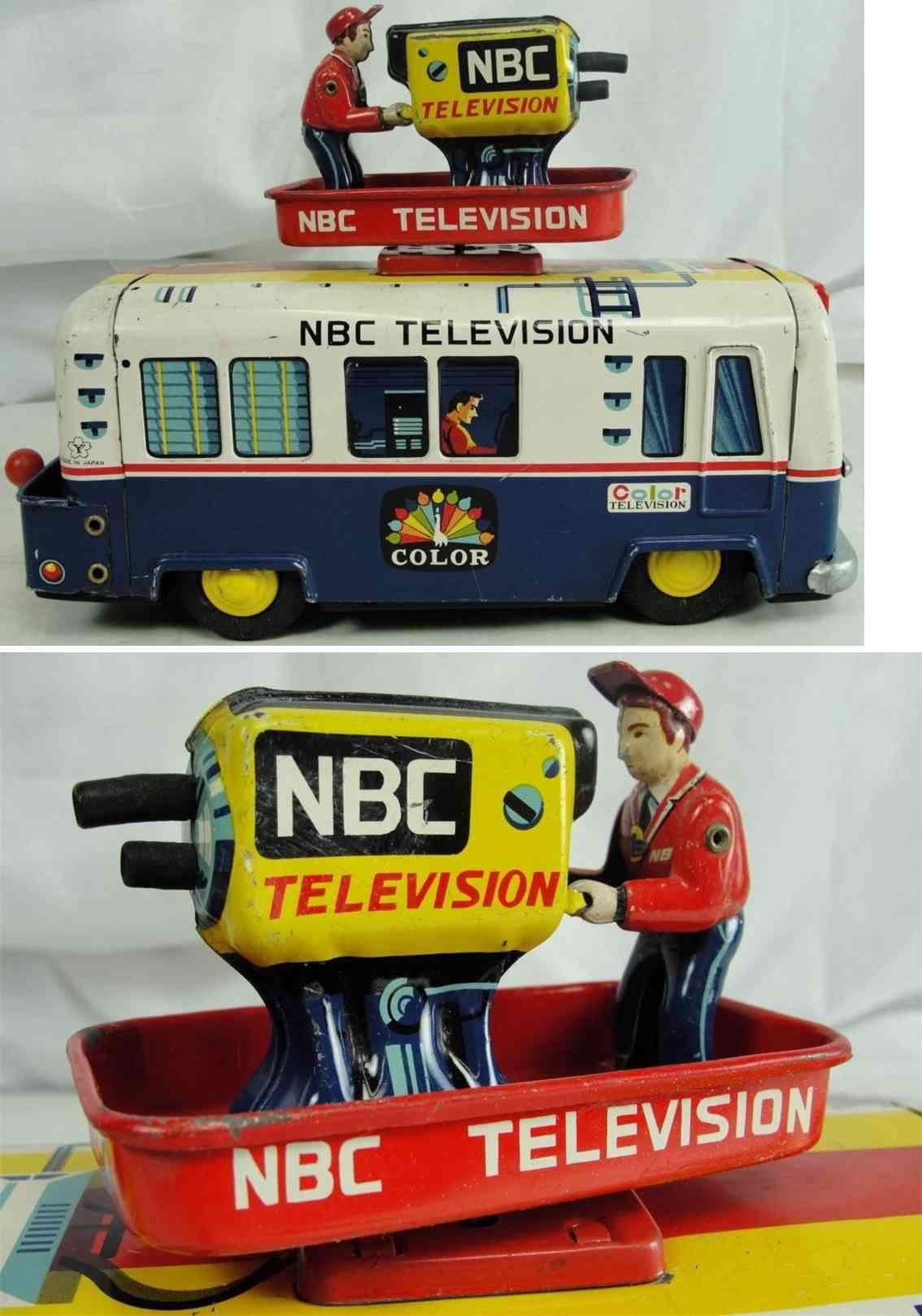 Toys car and truck  Cragstan TinBuses NBC television camera truck van made of tin