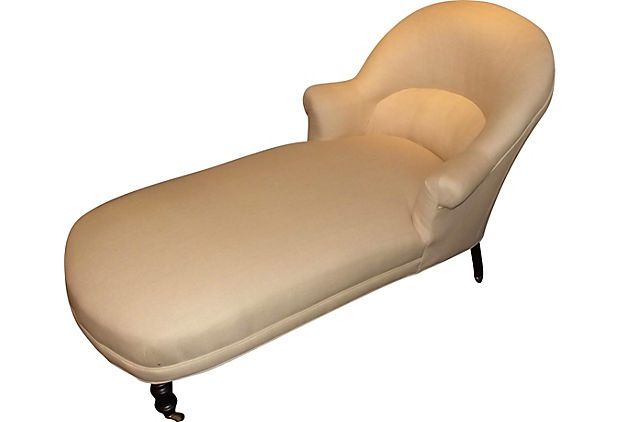 A Period Napoleon Iii Chaise Longue Newly Upholstered In Natural Linen And Fitted With New Restoration Grade Casters With Images Chaise Longue Chaise Lounge Vintage Market