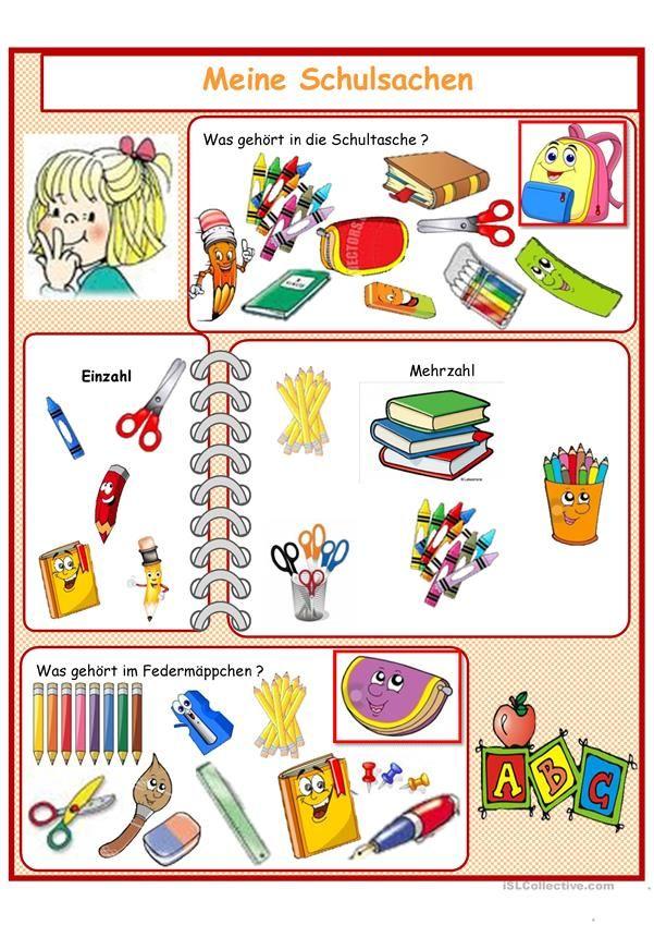 Arbeitsblatt Meine Schulsachen : Meine schulsachen hallo kinder wir lernen deutsch