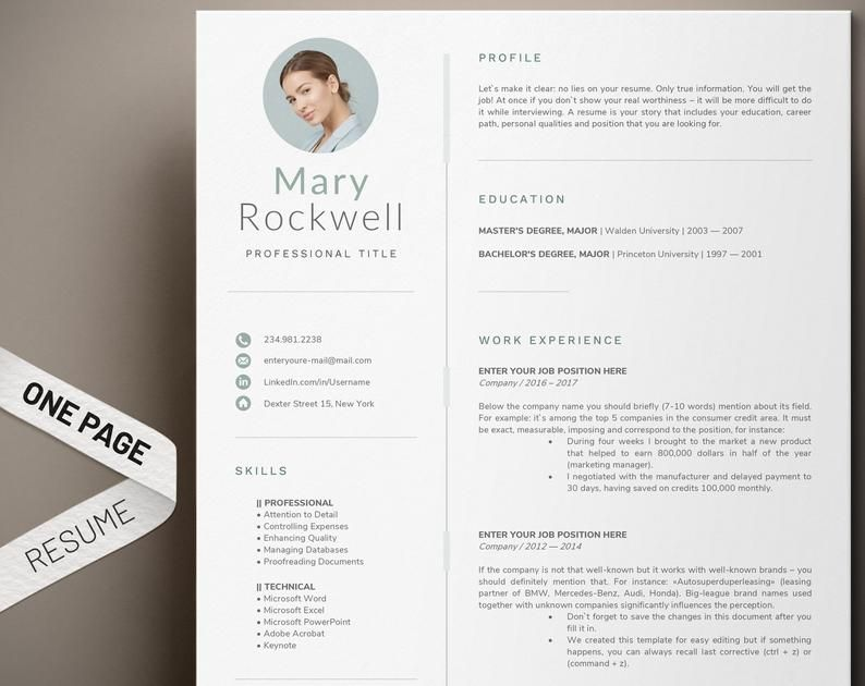 1 Page Resume Template Modern And Professional Cv Template Etsy Cv Template Professional Cv Template Resume Template
