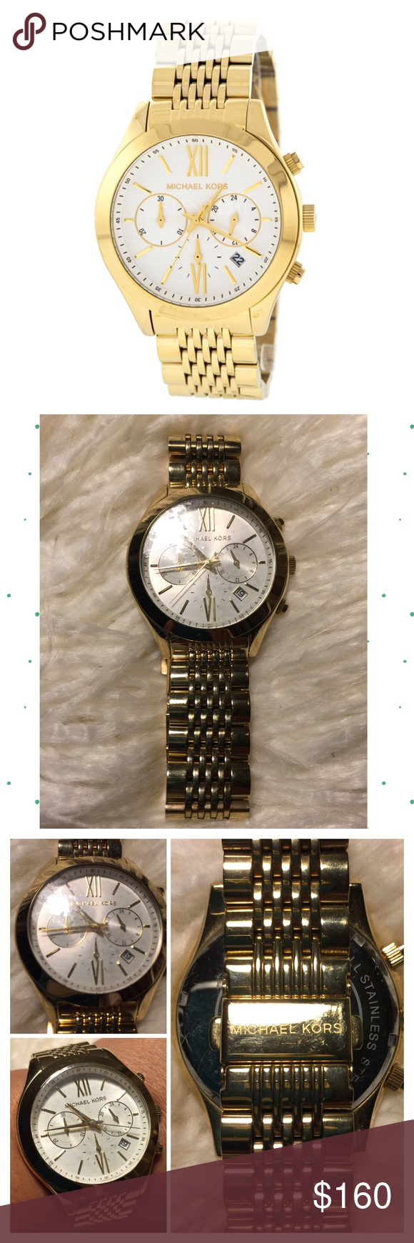 ️michael Kors Gold Chronograph Watch Bracelet Watch