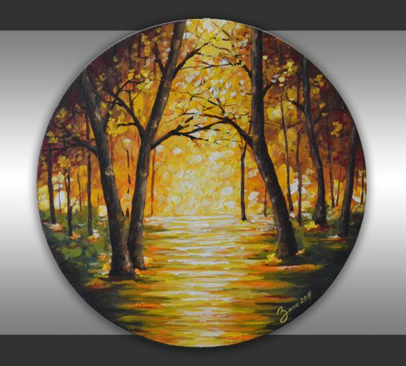 Original Trees Painting Home Decor 20 Round Canvas Abstract Yellow Green Brown Forest Landscape Fine A Abstract Tree Painting Art Painting Fine Art Painting