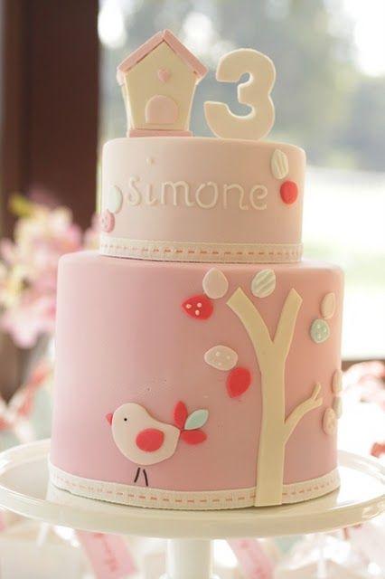 pink bird birthday cake